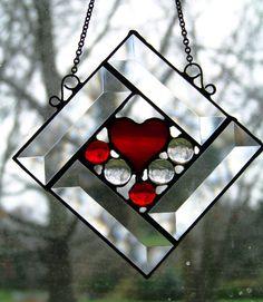 Little Heart stained glass beveled Suncatcher by Glitz & Grandeur