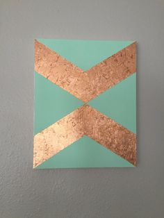 Hand painted mint canvas with copper leaf angles by GrayceWeaver