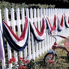 """Patriotic American Flag Scarf Banner Decoration Red White and Blue 30 ft. x 24"""". Great Decorative touch to your porch, fence or patio areas. #american"""