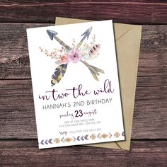 In TWO the Wild, Birthday Invitation, Tribal Birthday Invitations, Birthday, Invite, Aztec, Boho Chic, Bohemian, Printable Invitations by BigSkyDesignLLC on Etsy https://www.etsy.com/listing/506919226/in-two-the-wild-birthday-invitation