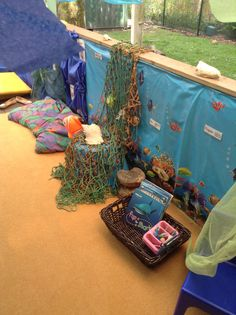Under The Sea Role Play Area - writing Ocean Themes, Beach Themes, Bridges Math, Teaching Activities, Teaching Ideas, Role Play Areas, Dramatic Play Area, Sea Theme, Sea Fish