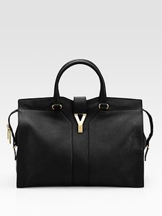 Yves Saint Laurent  YSL Cabas Chyc Large Leather East West Bag in Black 2150
