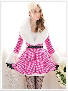 Mango Doll - Rose Houndstooth Fur Wool Coat , $227.00 (http://www.mangodoll.com/all-items/rose-houndstooth-fur-wool-coat/)