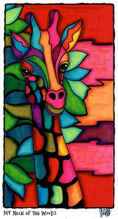 tableau girafe My Neck of the Woods by AEMgallery Wal Art, Giraffe Art, Arte Popular, Silk Painting, Art Plastique, African Art, Painting Inspiration, Colour Inspiration, Art Lessons