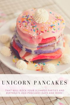 July 2018 – letmebestormy Delicious, colorful, and full of magic. Is there anything these Unicorn Pancakes can't make more magical? Use them for slumber parties, birthdays, and more! Breakfast For Kids, Breakfast Recipes, Dessert Recipes, Kids Birthday Breakfast, Breakfast Ideas, Fete Audrey, Comida Disney, Good Food, Yummy Food