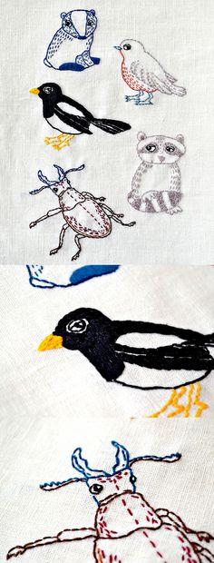 woodland animals embroidery ideas  #contemporaryembroidery #woodlandanimals #nurseryart #handembroidery