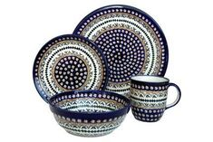 Polish Pottery Daisy 4 Piece Dinner Set >>> For more information, visit image link.