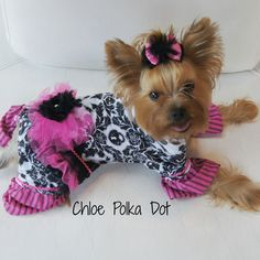 Adorable Custom Dog Jammies Made to fit your Pup. Please sendee measurements Neck, Girth, and Length. It takes 3-4 Weeks for Delivery to make and Postman to Deliver, but it's worth it! Kissies Bow for sale http://chloepolkadot.storenvy.com/products/5271817-bow-for-cutest-pink-and-black-dog-j...