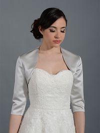Silver 3/4 sleeve wedding satin bolero jacket