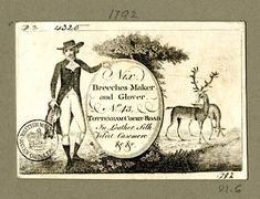 "18th century trade card: ""Nix. Breeches-Maker and Glover. No.43 Tottenham Court Road. In Leather, Silk, Velvet, Casemere, &c, &c."""