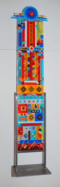 """Blue Eye"" Multi Color Fused Glass Totem Medium 33"" High 6"" Wide"