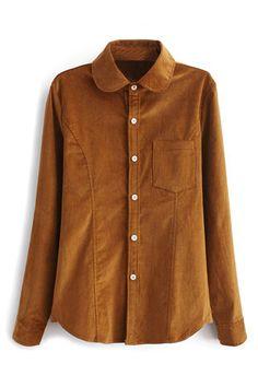 abaday   Asymmetric Yellow Corduroy Shirt, The Latest Street Fashion