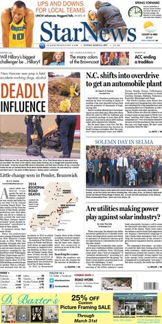 Front page for Sunday, March 8, 2015