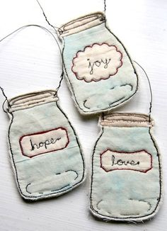Too cute! Mason jar sewing project! I love these!
