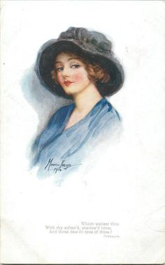 woman in blue with large dark hat, faces left, looks front