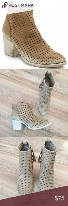 NWOB Dolce Vita Kenyon Nubuck Ankle Booties Brand new without box Size 8.5 Perforated Nubuck Leather Color: Light Olive Side zipper Some small imperfections (see pictures for details) Dolce Vita Shoes Ankle Boots & Booties