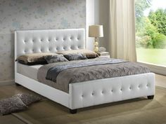 White - Queen Size - Modern Headboard Tufted Design Leather Look Upholstered Platform Bed