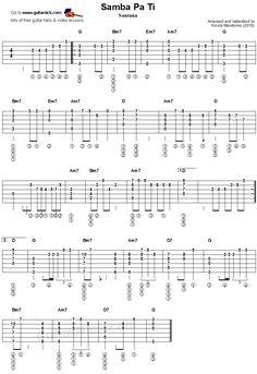 Samba Pa Ti - fingerstyle guitar tablature