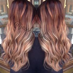 Chocolate red base melted to copper melted to blonde.