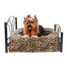 Pawz Road Pet Beds Dog/cat Bed Soft Warm Dog Kennelpet Beds Dog/cat Bed Soft Warm Dog Kennel Pet Cushion Upscale Metal Frame Zebra-stripe Mattress Bed (Leopard) ** You can get additional details at the image link.
