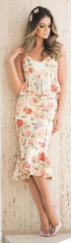 Iorane White Ruffle Hem Floral Top And Skirt Suit