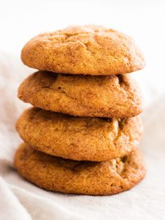 A stack of pumpkin snickerdoodle cookies is just what fall needs! Bake these if you're in the mood for pumpkin spice. | www.ifyougiveablondeakitchen.com