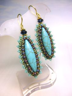 LACE LIKE -- Turquoise Blue Crystal Seed Beads Dangle Brass Hook Earrings