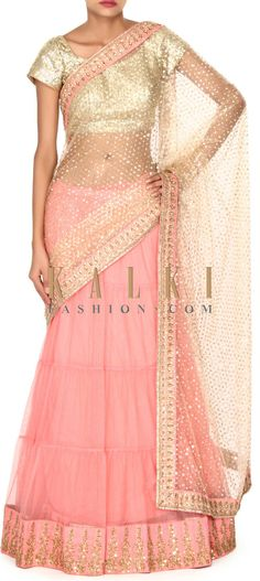 Buy this Beige and pink lehenga saree in zari border only on Kalki