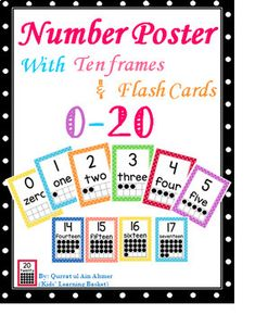 Number Posters with Ten Frames and Flash Cards (Polka Dots): This Polka Dots Number poster contains number posters for numbers 0 to Each poster has the number the number represented in a ten frame and the number word. This set includes full page Number Preschool Math, Kindergarten Classroom, Math Activities, Number Posters, Number Words, Ten Frames, Math Concepts, Future Classroom, Classroom Decor