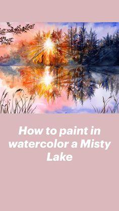 Acrylic Painting Tutorials, Watercolour Tutorials, Painting Videos, Watercolor Techniques, Acrylic Art, Painting Techniques, Watercolor Landscape, Watercolor Print, Watercolor Paintings