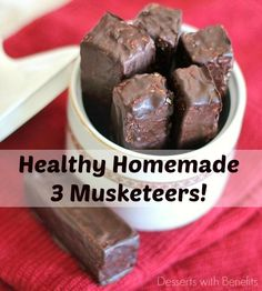 Healthy Homemade 3 Musketeers Candy Bars -- super soft nougat filling ...