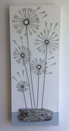 Hand formed wire dandelions on canvas Wire Wall Art, Metal Wall Decor, Metal Wall Art, Copper Wire Crafts, Copper Wire Art, Barbed Wire Art, Stylo 3d, Wire Art Sculpture, Wire Jig