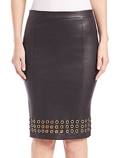 J Brand Wilda Grommet-Trim Leather Pencil Skirt
