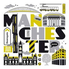 Visit the University of Derby at Manchester 19 - 20 March Image by Susan Taylor, Taylors Typographic Manchester Art, Manchester England, Manchester United, Manchester Landmarks, Monuments, University Of Derby, Salford, Travel Posters, Great Britain