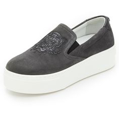KENZO Platform Slip On Sneakers (2.400 DKK) ❤ liked on Polyvore featuring shoes, sneakers, anthracite, leather slip on sneakers, rubber sole shoes, leather platform shoes, leather trainers and tiger shoes