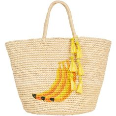 Sensi Studio Everybody Loves Banana Maxi Tote (235 BAM) ❤ liked on Polyvore featuring bags, handbags, tote bags, embroidered tote bags, woven beach tote, tote purses, handbags totes and beach tote bags