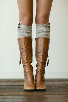 Gray Knitted Boot Socks Over the Knee Button