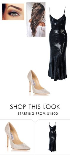 """Untitled #1067"" by ckowuarstenkey ❤ liked on Polyvore featuring Jimmy Choo and Halston"