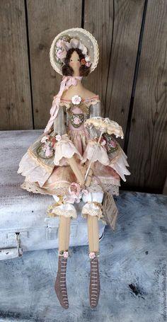 Купить кукла тильда ручной работы МАДЕМУАЗЕЛЬ) - серый, розовый, зеленый, кукла ручной работы
