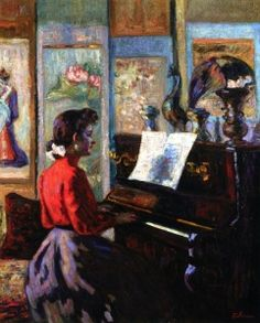 L'Ètude au Piano  (also known as Mademoiselle Guillaumin at the Piano) - Armand Guillaumin - circa 1889