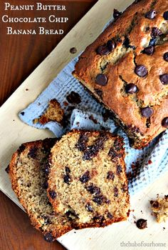 Best  Peanut Butter Chocolate Chip Banana Bread on MyRecipeMagic.com