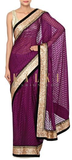 Buy Online from the link below. We ship worldwide (Free Shipping over US$100) Price- $89 Click Anywhere to Tag http://www.kalkifashion.com/purple-saree-embellished-in-sequin-embroidery-only-on-kalki.html