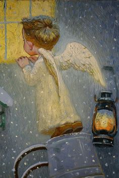 We have a special angel in Heaven. Vintage Christmas Images, Christmas Pictures, Christmas Angels, Christmas Art, Fantasy Kunst, Fantasy Art, Victor Nizovtsev, Christmas Illustration, Illustration Art