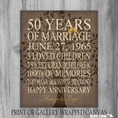 Anniversary Gift - 50 Years - Personalized Print - Canvas Gift for Parents Gift Grandparents Family Tree Keepsake Wall Art Faux Burlap 50th Wedding Anniversary Decorations, 60 Wedding Anniversary, Happy Anniversary, Anniversary Ideas, Anniversary Parties, Golden Anniversary Gifts, Anniversary Gifts For Parents, Parent Gifts, Golden Color