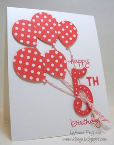 handmade birthday card ... from wee inklings ... red and white ... bouquet of punched polka dot balloons ... die cut big five in matching red dotted along the lines ... great one-layer design ... Stampin' Up!