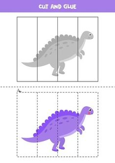 Cut And Glue Game For Kids. Cute Dinosaur Spinosaurus. Cutting Practice For Preschoolers. Educational Worksheet For Kids.