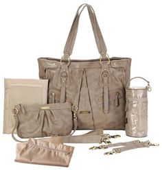timi & leslie dawn convertible diaper bag.  faux leather (pvc free) and features custom hardware in a gold finish. available in taupe & cloud blue.