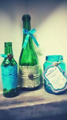 Enfeites de mesa para casamento   (Reciclagem de garrafas e potes de vidro)