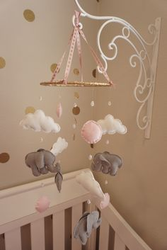 Hand made pink and gold elephant baby mobile.