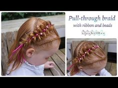 Pull-through braid with ribbon and beads - Elastiekjesvlecht met lint en kralen - YouTube
